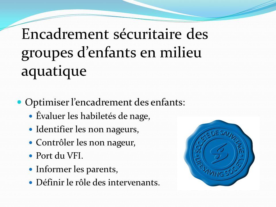  Optimiser l'encadrement des enfants:  Évaluer les habiletés de nage,  Identifier les non nageurs,  Contrôler les non nageur,  Port du VFI.  Inf