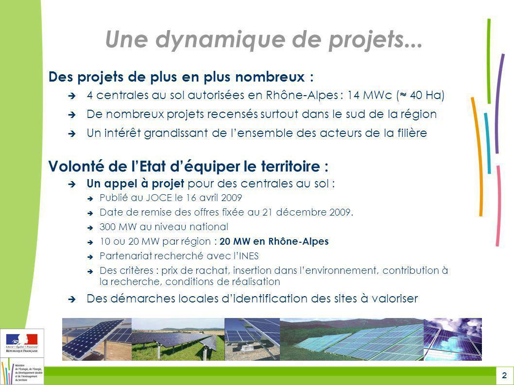 2 Une dynamique de projets... Des projets de plus en plus nombreux :  4 centrales au sol autorisées en Rhône-Alpes : 14 MWc (  40 Ha)  De nombreux