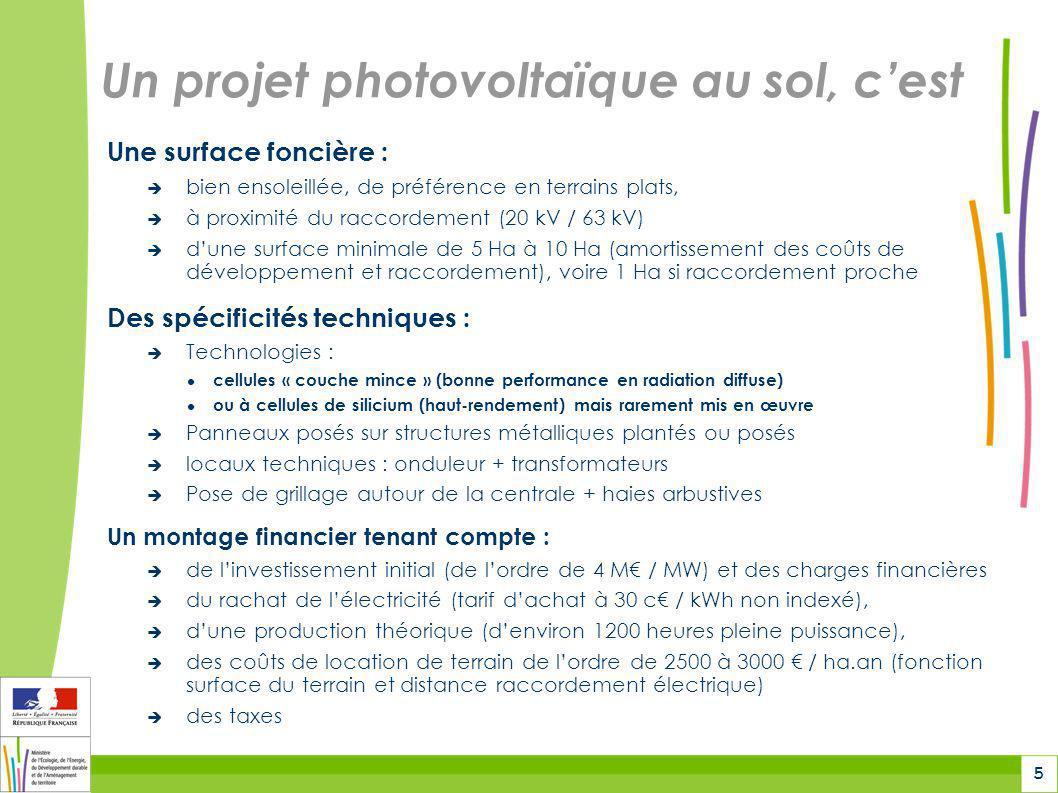 5 Un projet photovoltaïque au sol, c'est Une surface foncière :  bien ensoleillée, de préférence en terrains plats,  à proximité du raccordement (20