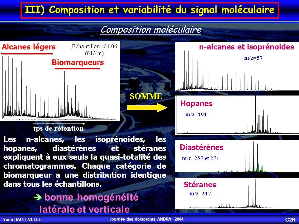 Yann HAUTEVELLE G2R Journée des doctorants ANDRA 2004 SOMME n-alcanes et isoprénoides Hopanes Diastérènes Stéranes m/z=57 m/z=191 m/z=257 et 271 m/z=2