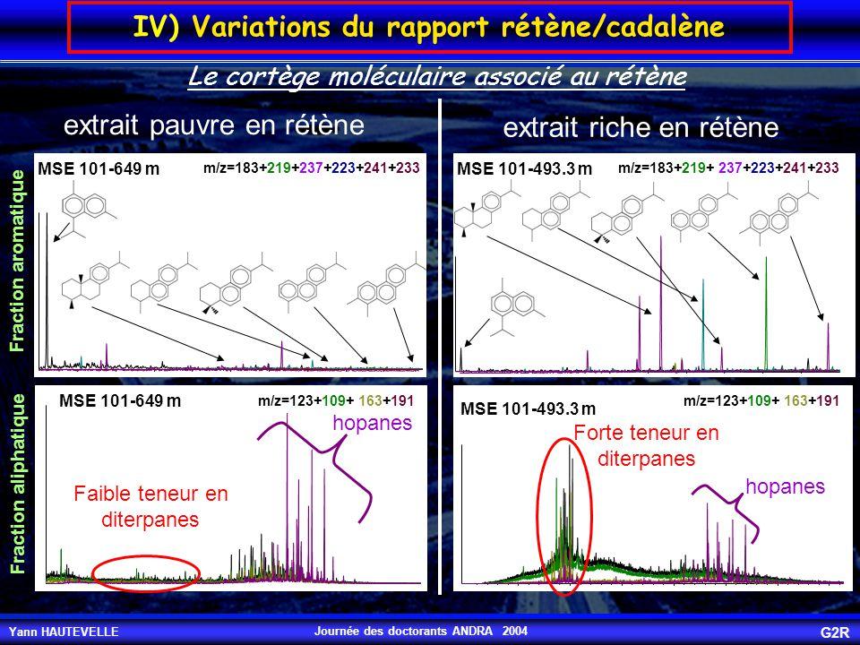Yann HAUTEVELLE G2R Journée des doctorants ANDRA 2004 IV) Variations du rapport rétène/cadalène MSE 101-649 m m/z=183+219+237+223+241+233 MSE 101-493.