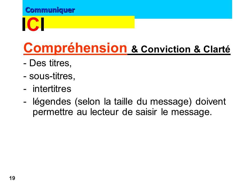 Communiquer 18 >Sous accroche : - transition entre accroche et texte - mettre le lecteur en appétit d'aller plus loin >Visuel : toujours en cohérence
