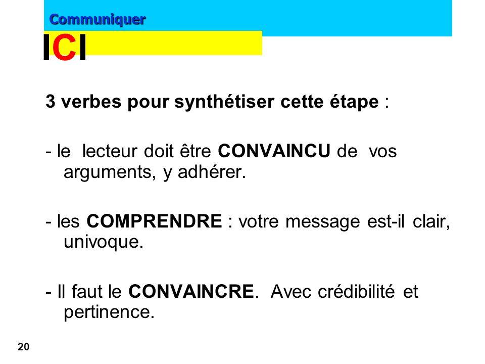 Communiquer 19 Compréhension & Conviction & Clarté - Des titres, - sous-titres, -intertitres -légendes (selon la taille du message) doivent permettre