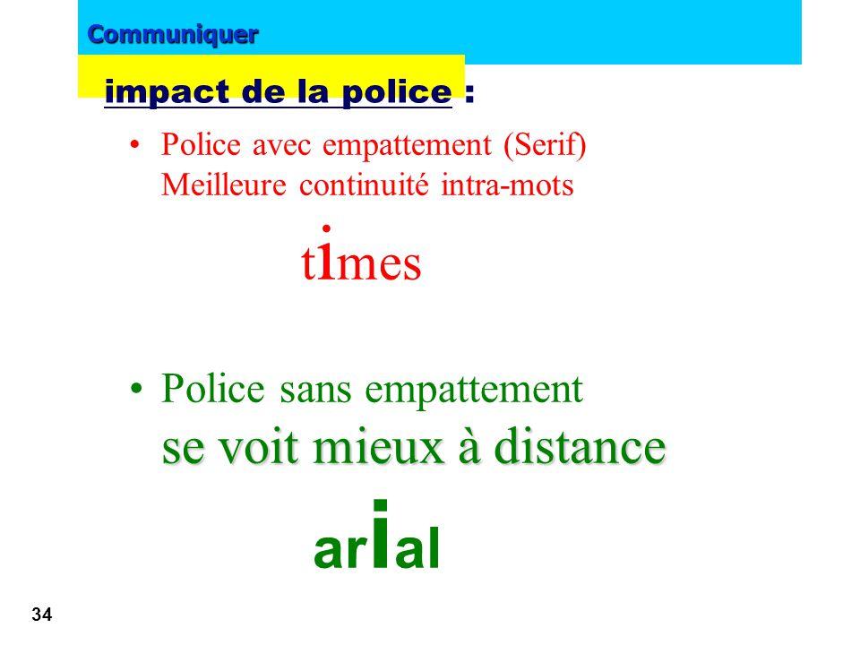 Communiquer 33 Différenciez Titre Sous titre ! •Titre –Sous titre •Titre –Sous titre impact de la police :