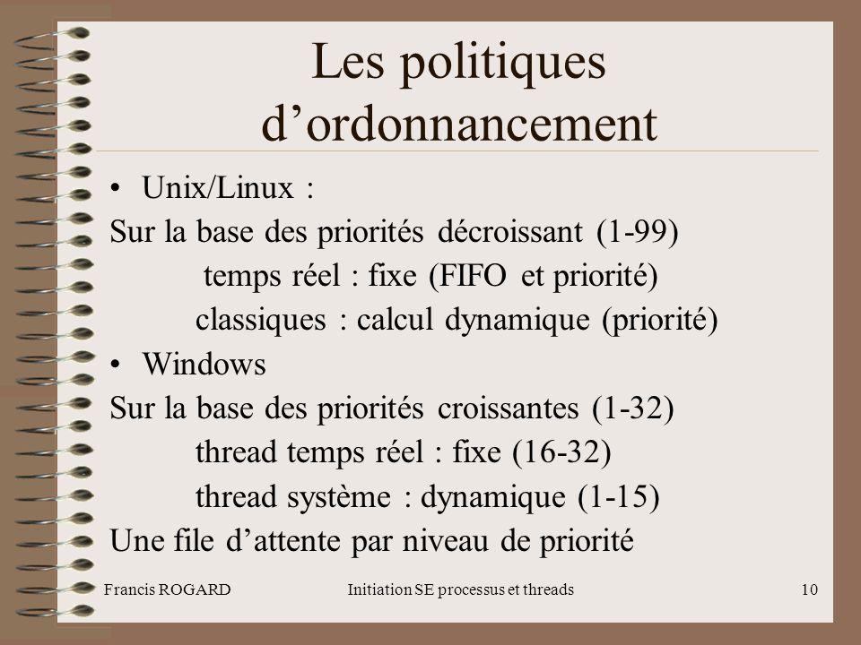 Francis ROGARDInitiation SE processus et threads10 Les politiques d'ordonnancement •Unix/Linux : Sur la base des priorités décroissant (1-99) temps ré