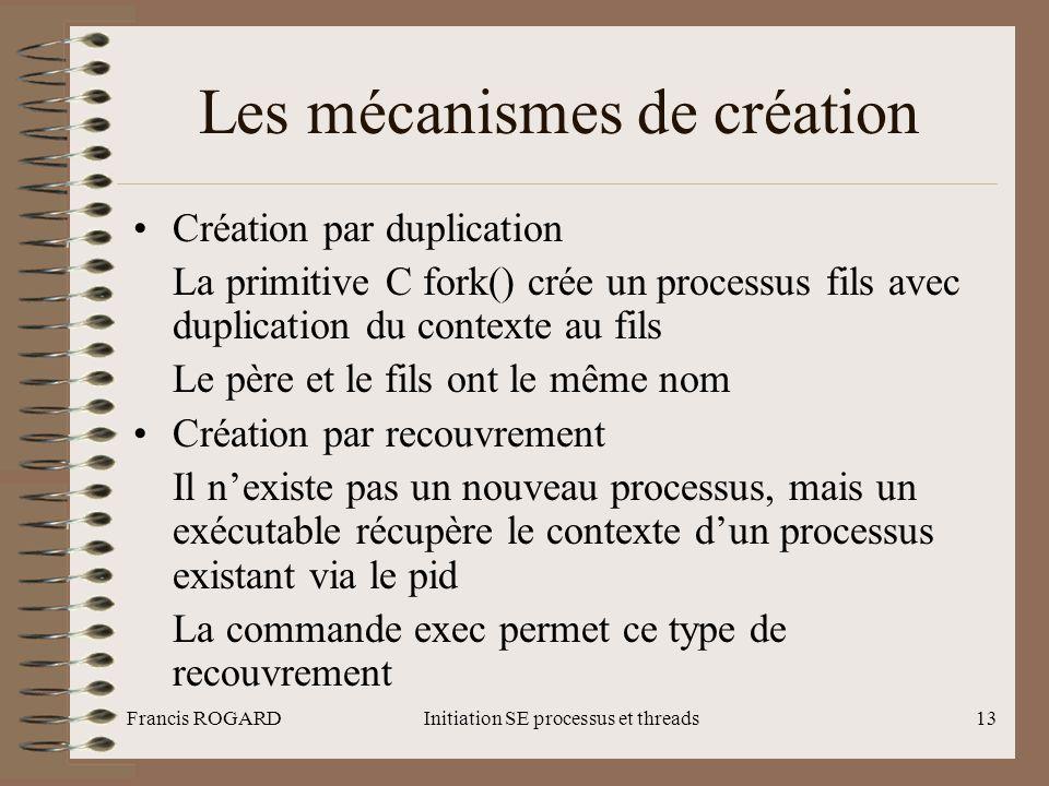 Francis ROGARDInitiation SE processus et threads13 Les mécanismes de création •Création par duplication La primitive C fork() crée un processus fils a