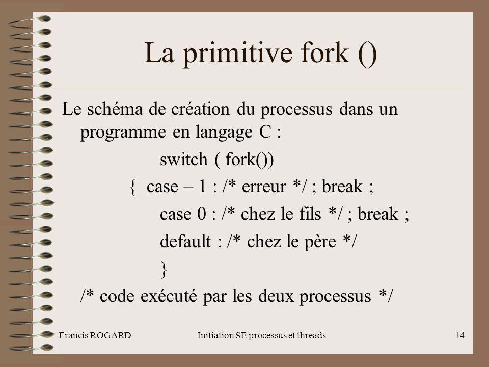 Francis ROGARDInitiation SE processus et threads14 La primitive fork () Le schéma de création du processus dans un programme en langage C : switch ( f