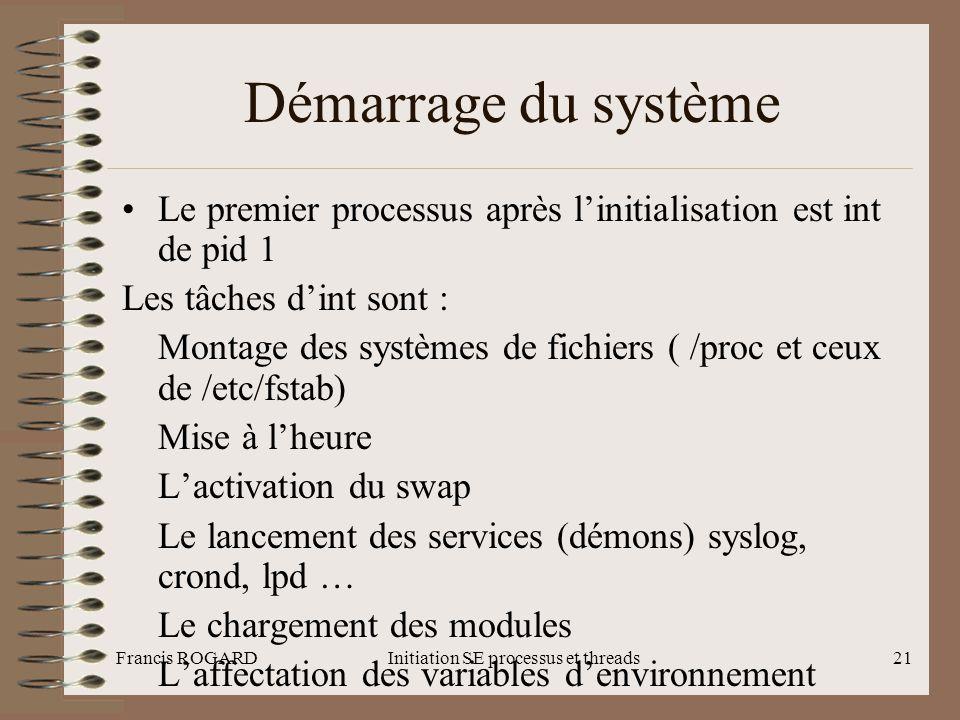 Francis ROGARDInitiation SE processus et threads21 Démarrage du système •Le premier processus après l'initialisation est int de pid 1 Les tâches d'int