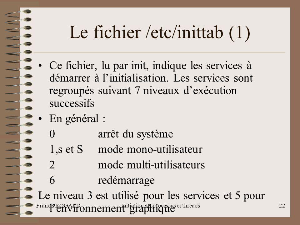 Francis ROGARDInitiation SE processus et threads22 Le fichier /etc/inittab (1) •Ce fichier, lu par init, indique les services à démarrer à l'initialis