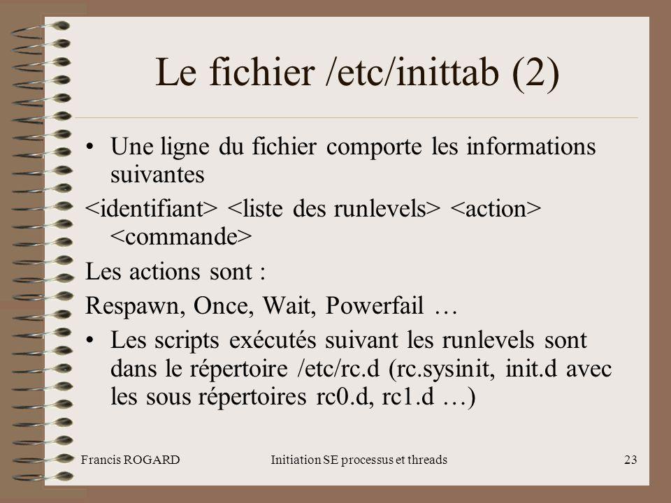 Francis ROGARDInitiation SE processus et threads23 Le fichier /etc/inittab (2) •Une ligne du fichier comporte les informations suivantes Les actions s