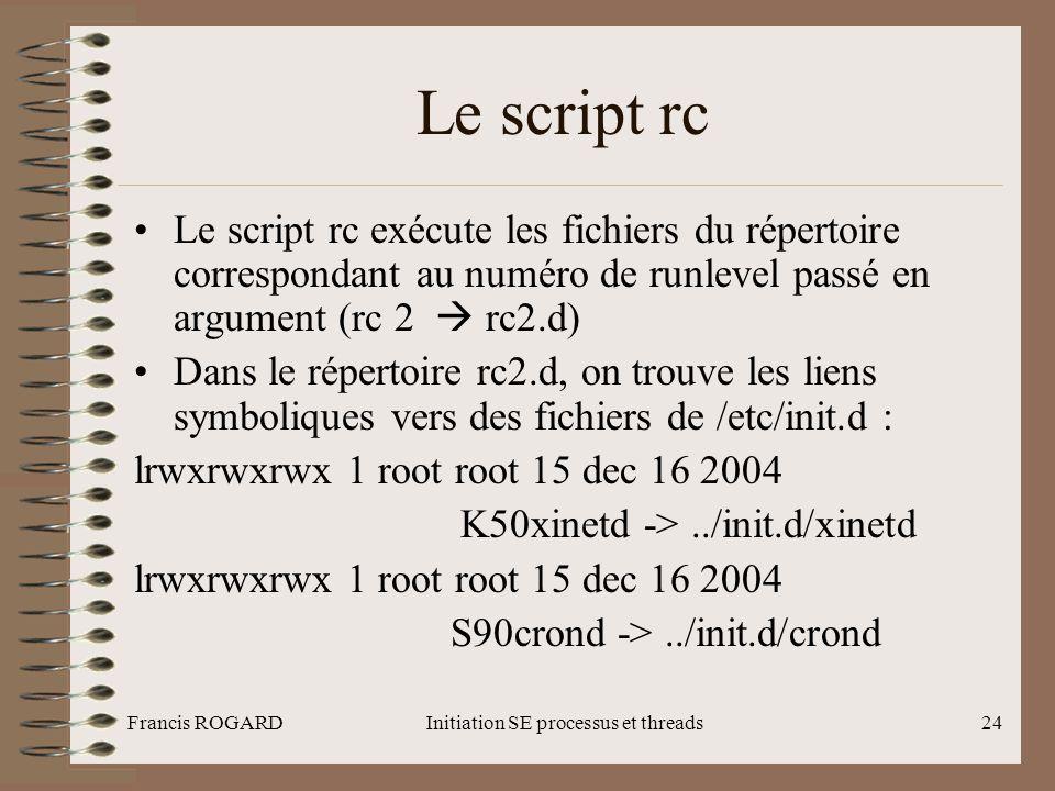 Francis ROGARDInitiation SE processus et threads24 Le script rc •Le script rc exécute les fichiers du répertoire correspondant au numéro de runlevel p