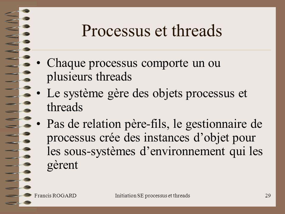 Francis ROGARDInitiation SE processus et threads29 Processus et threads •Chaque processus comporte un ou plusieurs threads •Le système gère des objets