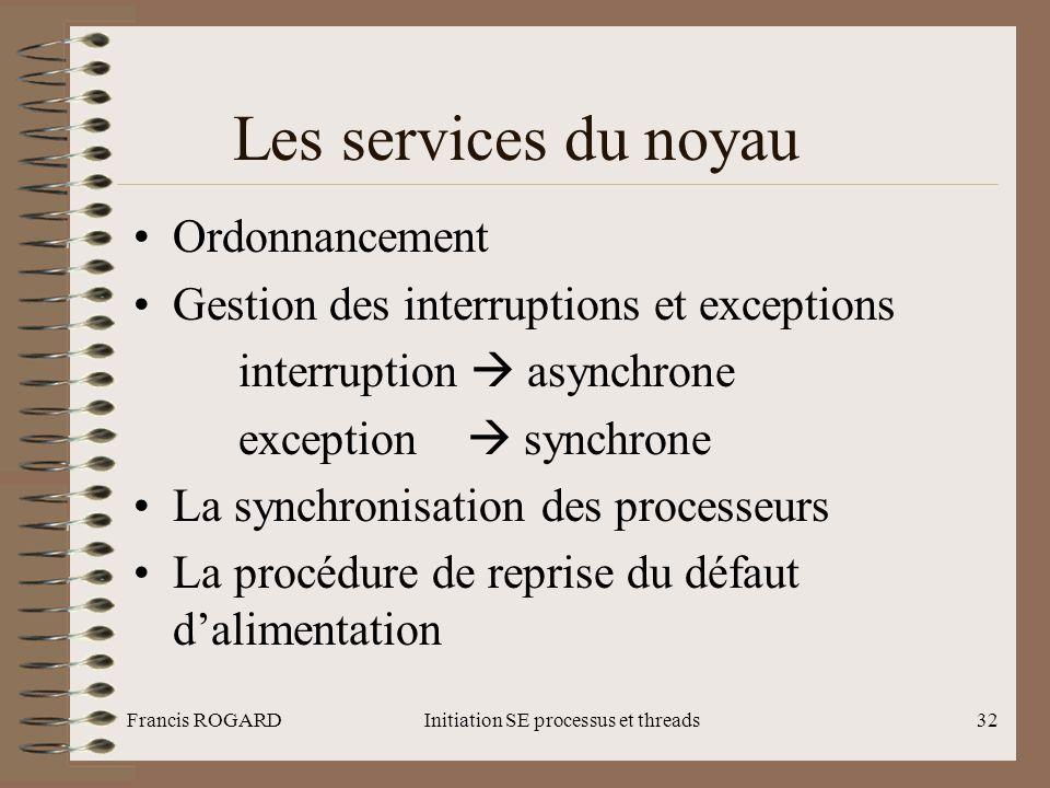 Francis ROGARDInitiation SE processus et threads32 Les services du noyau •Ordonnancement •Gestion des interruptions et exceptions interruption  async