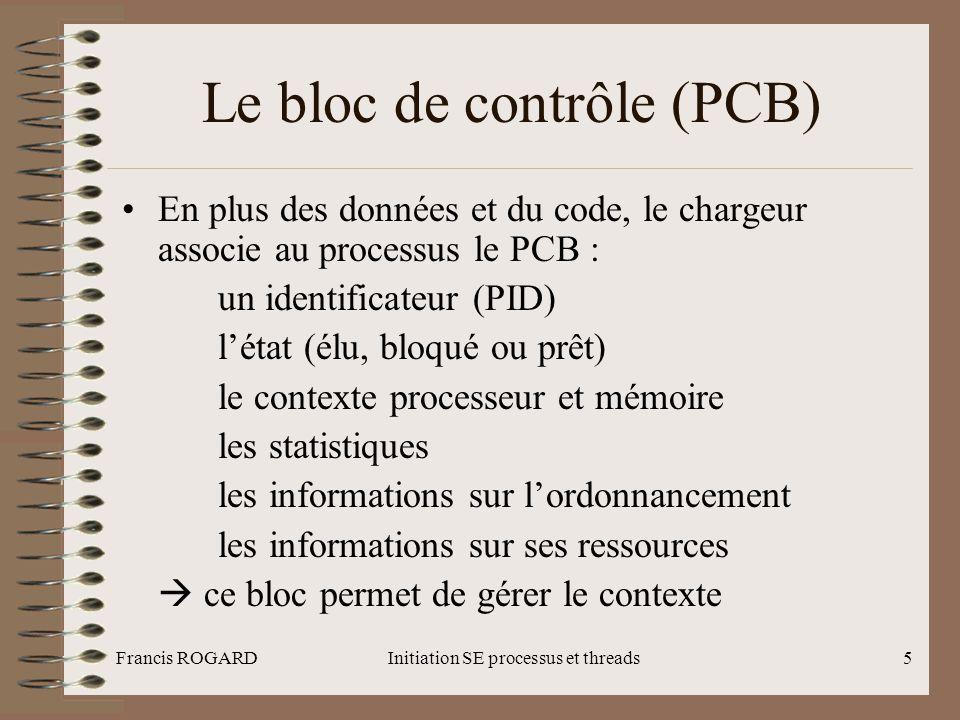 Francis ROGARDInitiation SE processus et threads5 Le bloc de contrôle (PCB) •En plus des données et du code, le chargeur associe au processus le PCB :