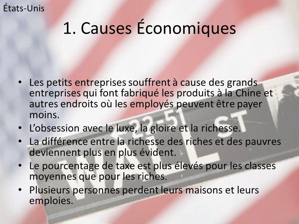1. Causes Économiques • Les petits entreprises souffrent à cause des grands entreprises qui font fabriqué les produits à la Chine et autres endroits o