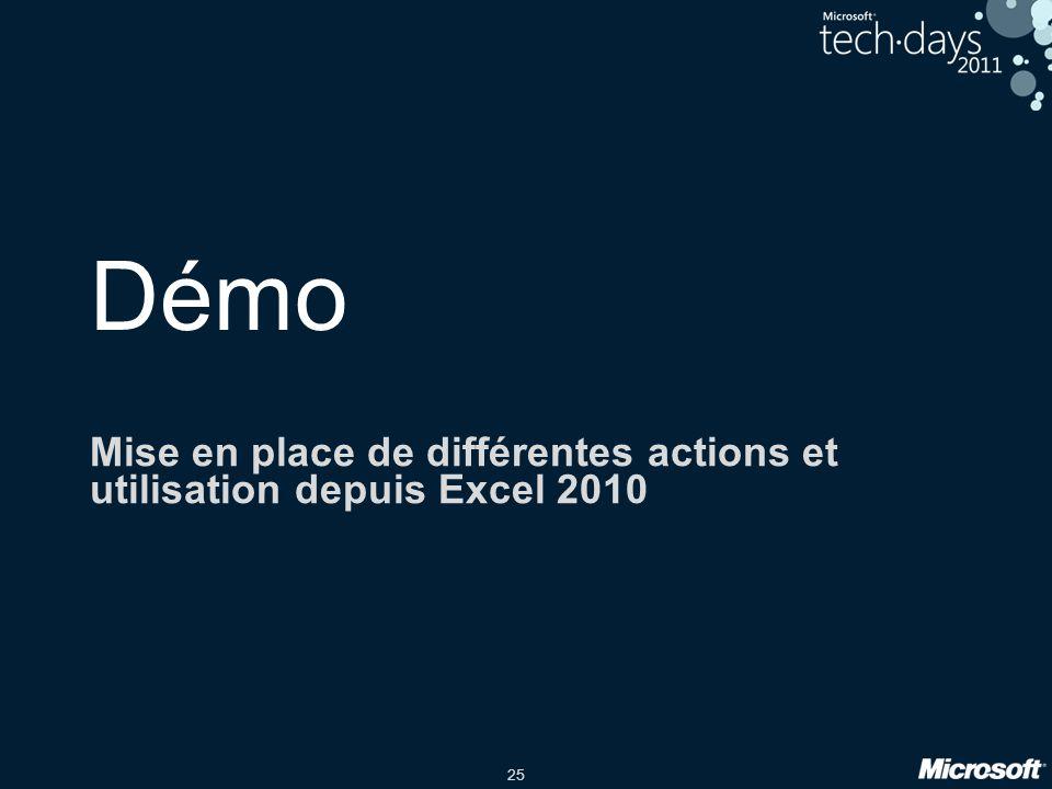 25 Démo Mise en place de différentes actions et utilisation depuis Excel 2010