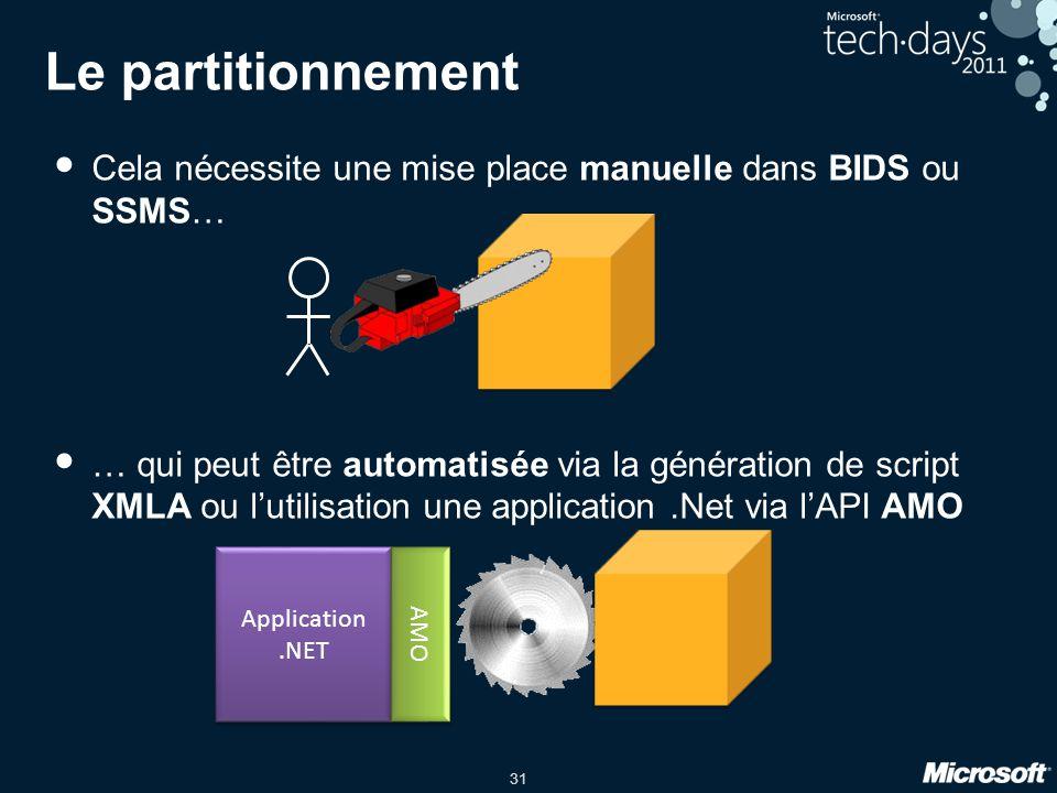31 Le partitionnement • Cela nécessite une mise place manuelle dans BIDS ou SSMS… • … qui peut être automatisée via la génération de script XMLA ou l'