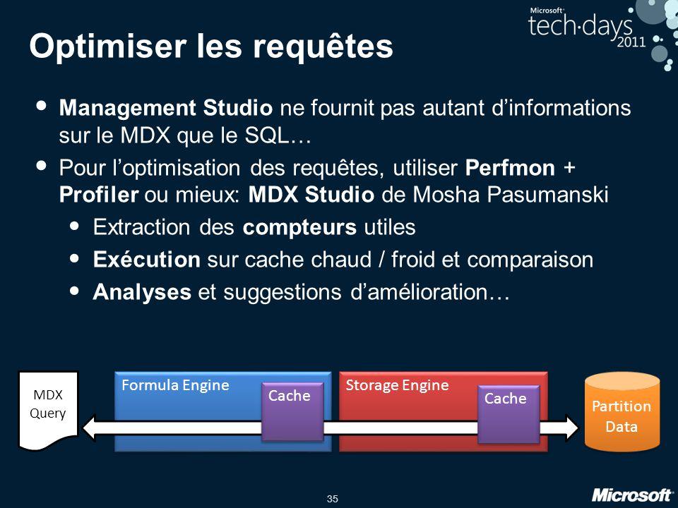 35 Optimiser les requêtes • Management Studio ne fournit pas autant d'informations sur le MDX que le SQL… • Pour l'optimisation des requêtes, utiliser
