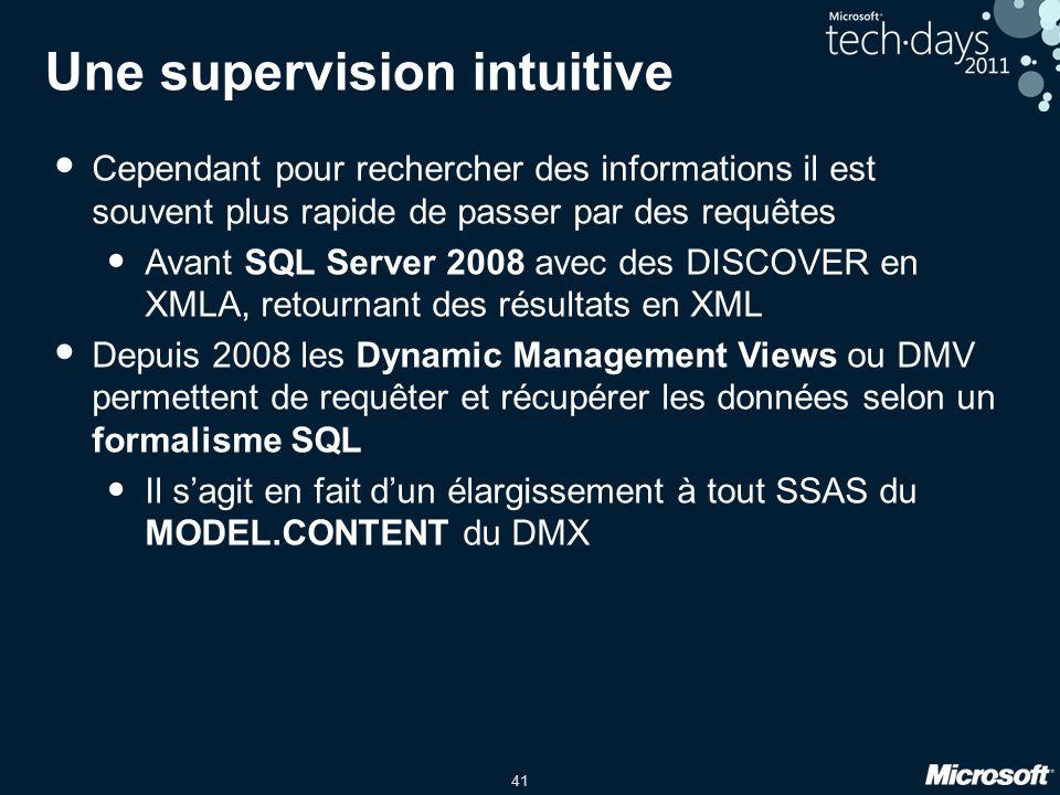 41 Une supervision intuitive • Cependant pour rechercher des informations il est souvent plus rapide de passer par des requêtes • Avant SQL Server 200