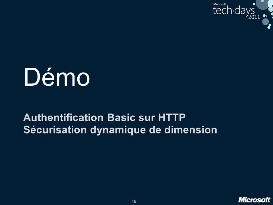 46 Démo Authentification Basic sur HTTP Sécurisation dynamique de dimension