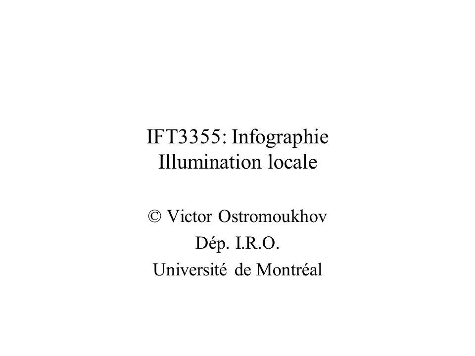 IFT3355: Infographie Illumination locale © Victor Ostromoukhov Dép. I.R.O. Université de Montréal