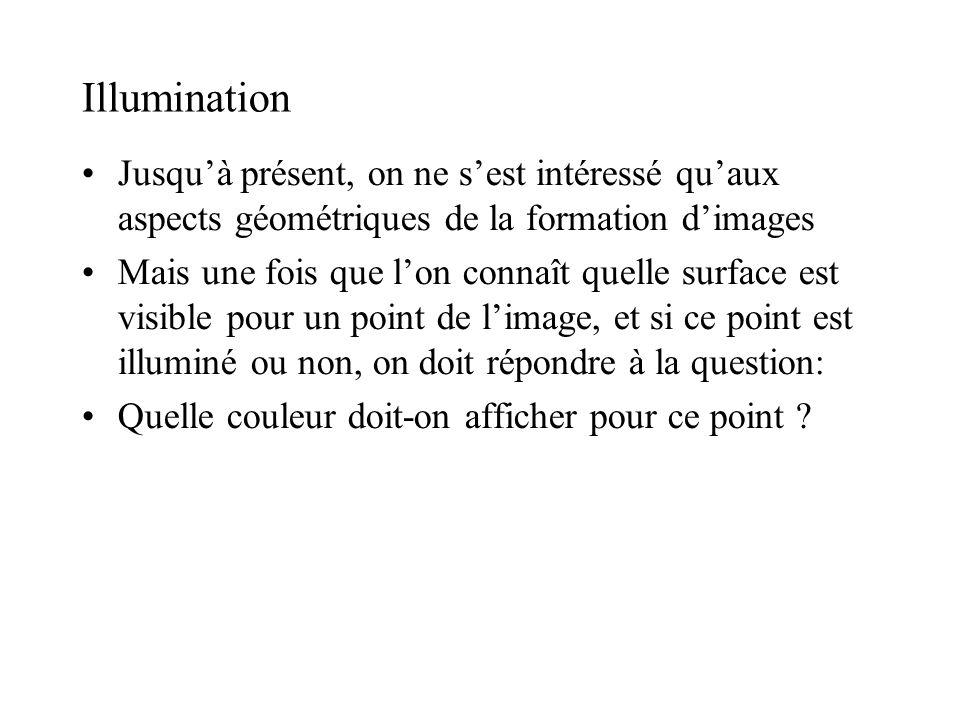 Illumination •Jusqu'à présent, on ne s'est intéressé qu'aux aspects géométriques de la formation d'images •Mais une fois que l'on connaît quelle surfa