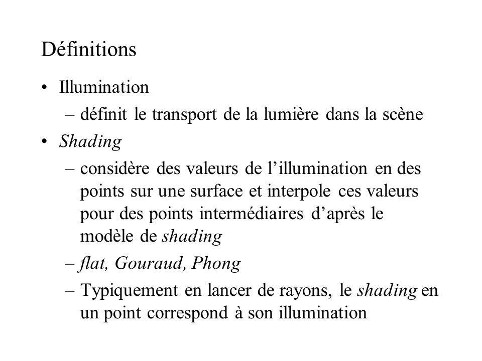 Définitions •Illumination –définit le transport de la lumière dans la scène •Shading –considère des valeurs de l'illumination en des points sur une su