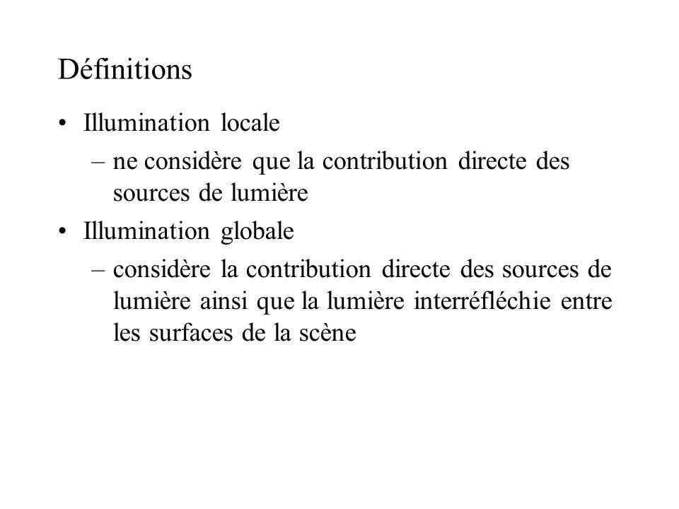 Définitions •Illumination locale –ne considère que la contribution directe des sources de lumière •Illumination globale –considère la contribution dir