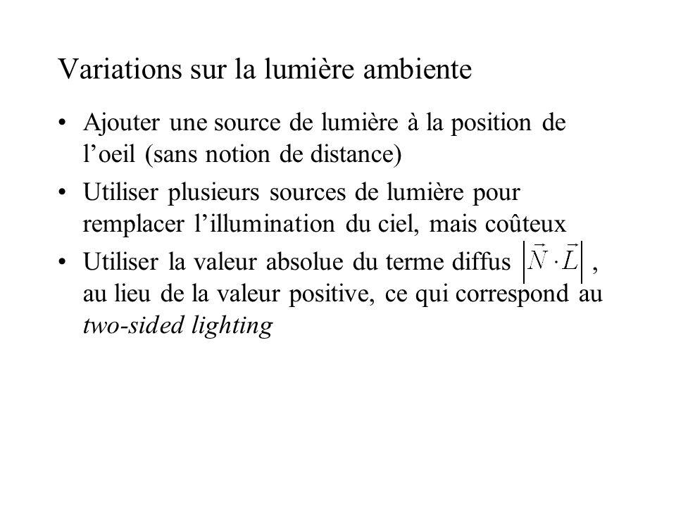 Variations sur la lumière ambiente •Ajouter une source de lumière à la position de l'oeil (sans notion de distance) •Utiliser plusieurs sources de lu