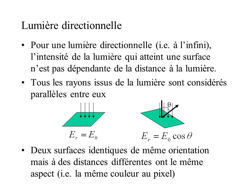 Lumière directionnelle •Pour une lumière directionnelle (i.e. à l'infini), l'intensité de la lumière qui atteint une surface n'est pas dépendante de l