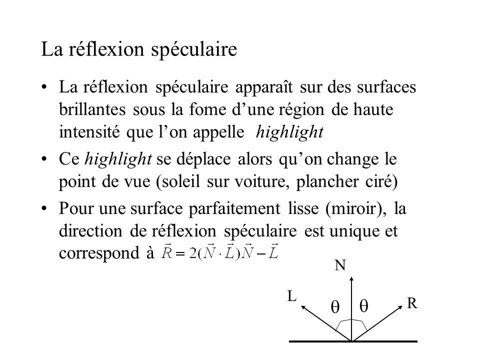 La réflexion spéculaire •La réflexion spéculaire apparaît sur des surfaces brillantes sous la fome d'une région de haute intensité que l'on appelle hi