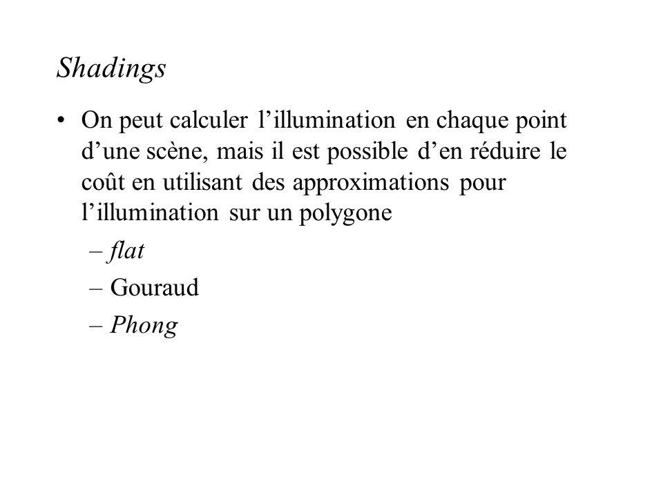 Shadings •On peut calculer l'illumination en chaque point d'une scène, mais il est possible d'en réduire le coût en utilisant des approximations pour
