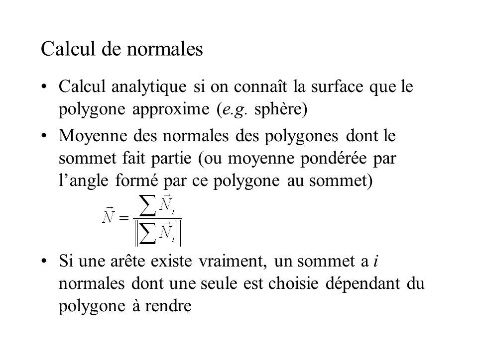 Calcul de normales •Calcul analytique si on connaît la surface que le polygone approxime (e.g. sphère) •Moyenne des normales des polygones dont le so