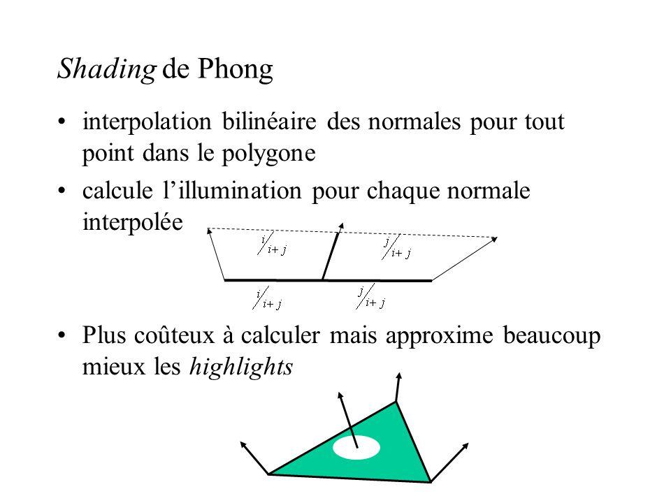 Shading de Phong •interpolation bilinéaire des normales pour tout point dans le polygone •calcule l'illumination pour chaque normale interpolée •Plus