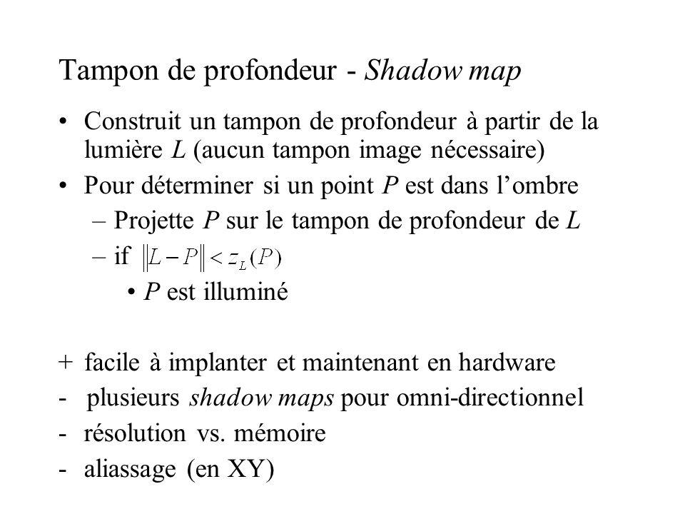 Tampon de profondeur - Shadow map •Construit un tampon de profondeur à partir de la lumière L (aucun tampon image nécessaire) •Pour déterminer si un