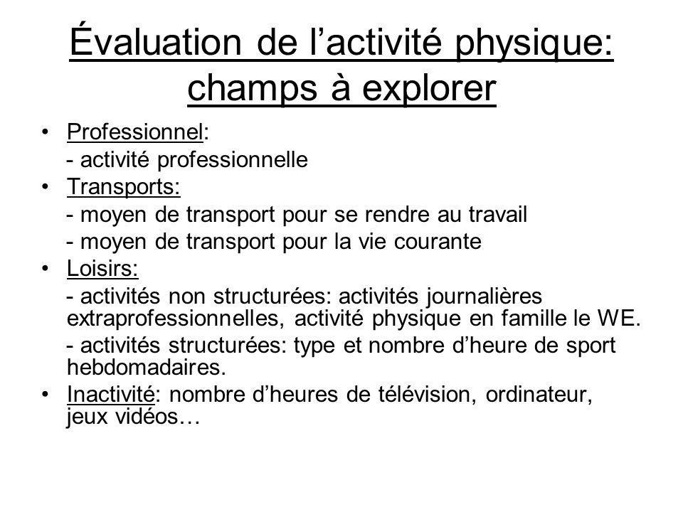 Évaluation de l'activité physique: champs à explorer •Professionnel: - activité professionnelle •Transports: - moyen de transport pour se rendre au tr