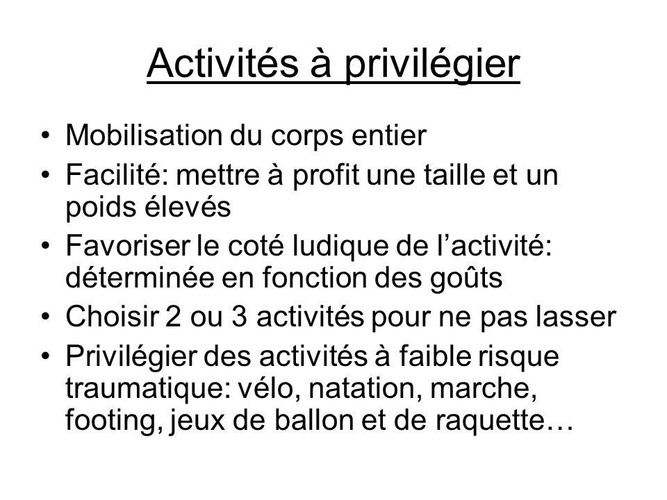 Activités à privilégier •Mobilisation du corps entier •Facilité: mettre à profit une taille et un poids élevés •Favoriser le coté ludique de l'activit