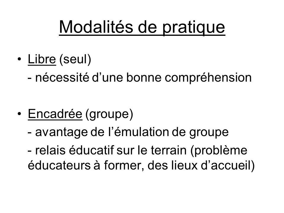 Modalités de pratique •Libre (seul) - nécessité d'une bonne compréhension •Encadrée (groupe) - avantage de l'émulation de groupe - relais éducatif sur