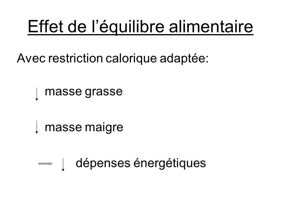 Effet de l'équilibre alimentaire Avec restriction calorique adaptée: masse grasse masse maigre dépenses énergétiques