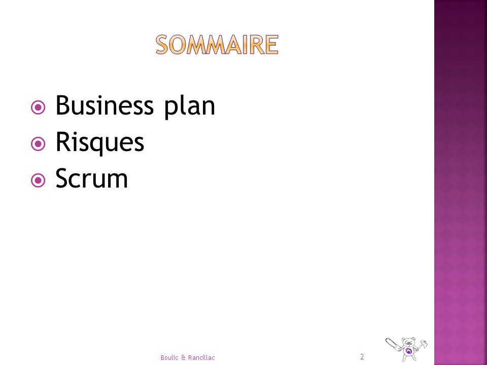  Business plan  Risques  Scrum 2 Boulic & Rancillac