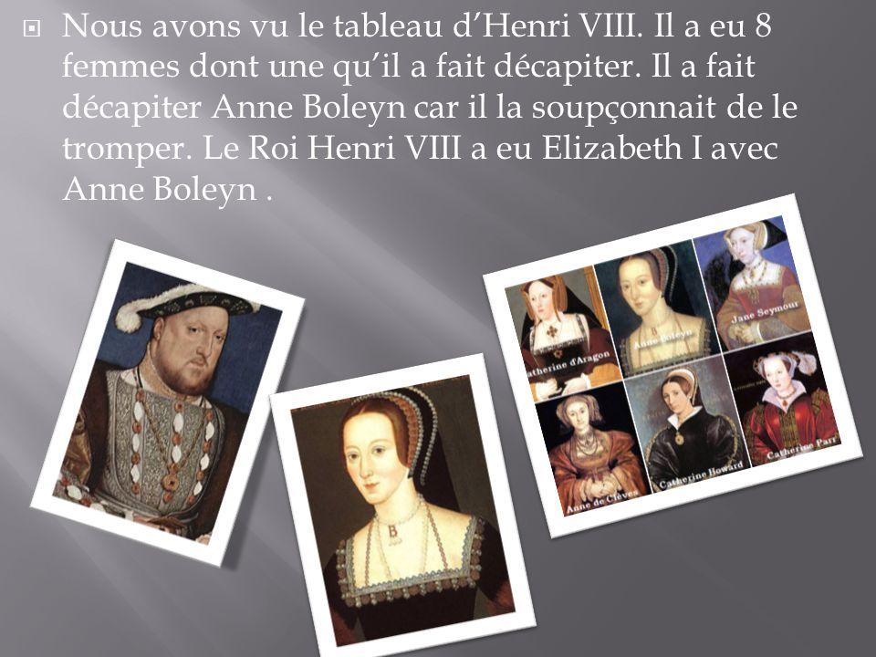  Nous avons vu le tableau d'Henri VIII. Il a eu 8 femmes dont une qu'il a fait décapiter. Il a fait décapiter Anne Boleyn car il la soupçonnait de le