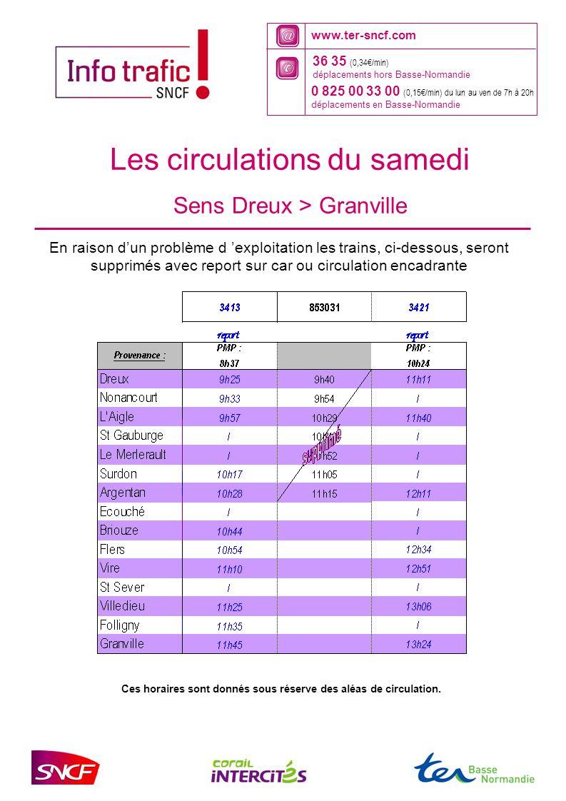 www.ter-sncf.com 36 35 (0,34€/min) déplacements hors Basse-Normandie 0 825 00 33 00 (0,15€/min) du lun au ven de 7h à 20h déplacements en Basse-Norman