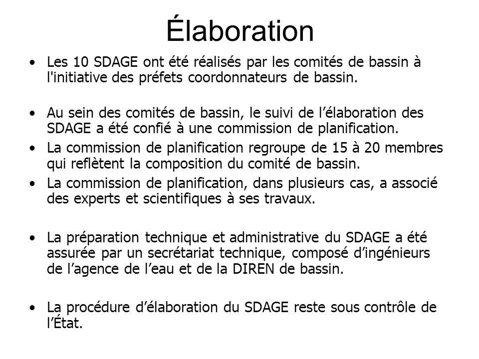 Élaboration •Les 10 SDAGE ont été réalisés par les comités de bassin à l'initiative des préfets coordonnateurs de bassin. •Au sein des comités de bass
