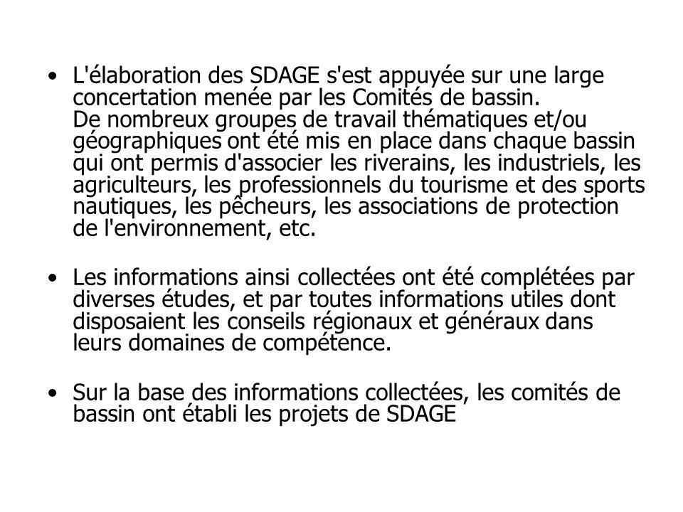 •L'élaboration des SDAGE s'est appuyée sur une large concertation menée par les Comités de bassin. De nombreux groupes de travail thématiques et/ou gé