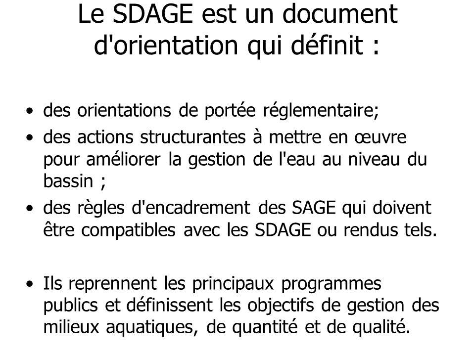 Le SDAGE est un document d'orientation qui définit : •des orientations de portée réglementaire; •des actions structurantes à mettre en œuvre pour amél