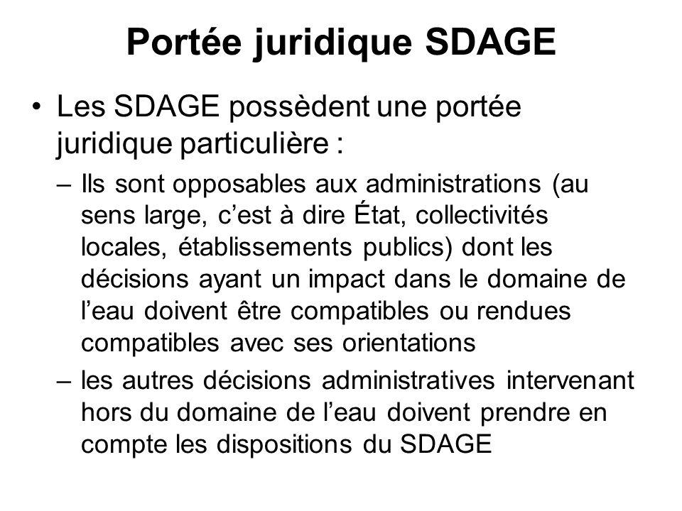 Portée juridique SDAGE •Les SDAGE possèdent une portée juridique particulière : –Ils sont opposables aux administrations (au sens large, c'est à dire