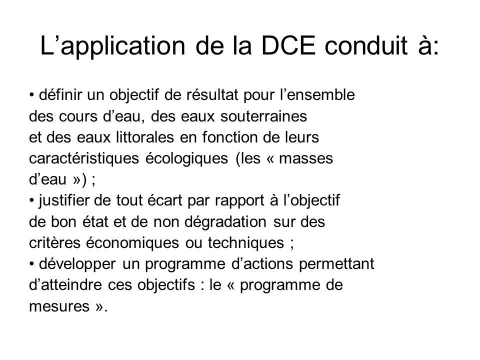 L'application de la DCE conduit à: • définir un objectif de résultat pour l'ensemble des cours d'eau, des eaux souterraines et des eaux littorales en