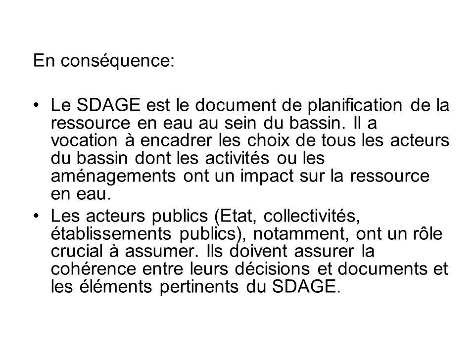 En conséquence: •Le SDAGE est le document de planification de la ressource en eau au sein du bassin. Il a vocation à encadrer les choix de tous les ac