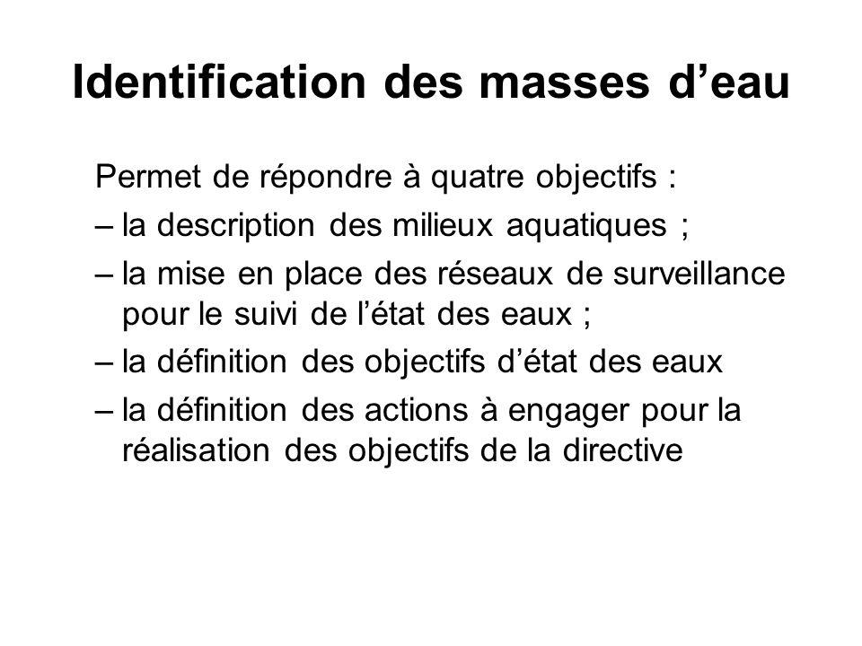 Identification des masses d'eau Permet de répondre à quatre objectifs : –la description des milieux aquatiques ; –la mise en place des réseaux de surv