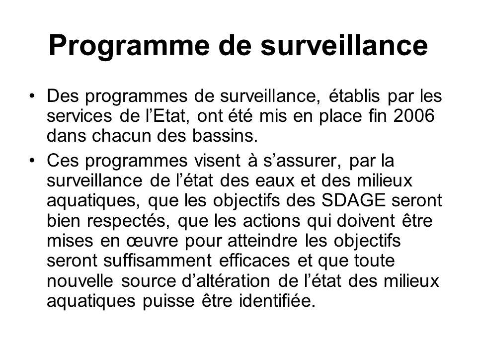 Programme de surveillance •Des programmes de surveillance, établis par les services de l'Etat, ont été mis en place fin 2006 dans chacun des bassins.